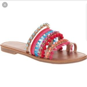 Shoes - NWT Big Buddha Women's Pom Slide Sandal Size 9